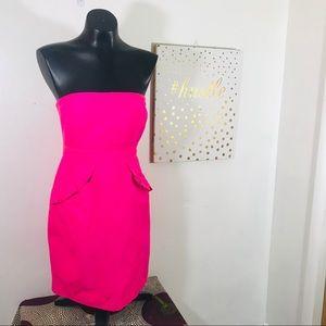 J. Crew Hot Pink Strapless Dress